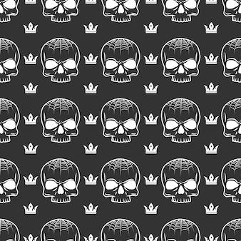 Kroon en schedel naadloos patroon