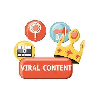 Kroon en virale inhoud gerelateerde pictogrammen