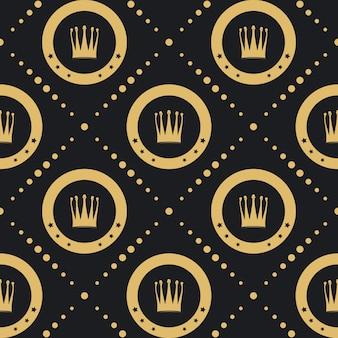Kroon gouden patroon naadloos. vintage luxe klassieke achtergrond.