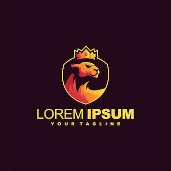 Kroon leeuwin gradiënt logo ontwerp