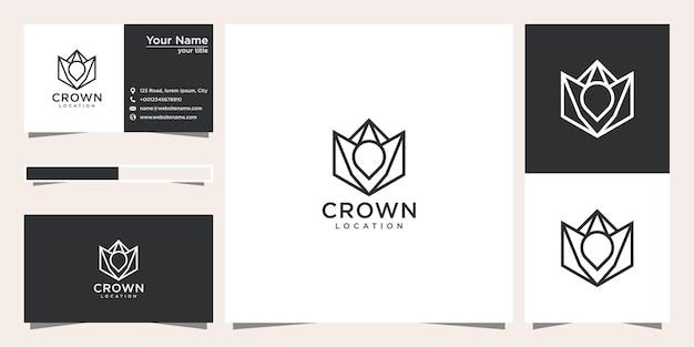 Kroon locatie logo ontwerp met lijnstijl en visitekaartje