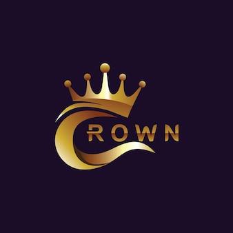 Kroon logo ontwerpsjabloon Premium Vector