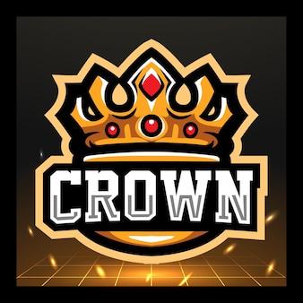 Kroon mascotte esport logo ontwerp