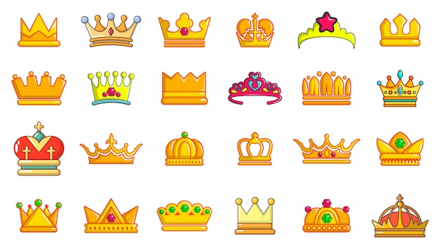 Kroon pictogramserie. beeldverhaalreeks kroon vectorpictogrammen geplaatst geïsoleerd