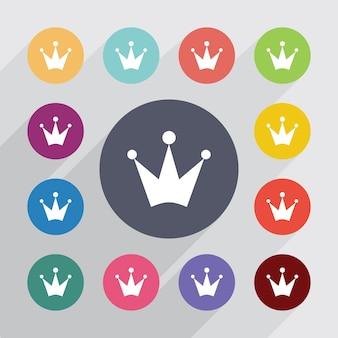 Kroon, plat pictogrammen instellen. ronde kleurrijke knopen. vector