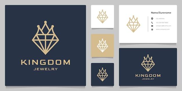 Kroon sieraden koninkrijk lijn overzicht luxe logo ontwerp geïsoleerd op zwarte achtergrond