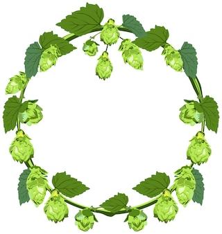 Kroon van hop in de vorm van een cirkel
