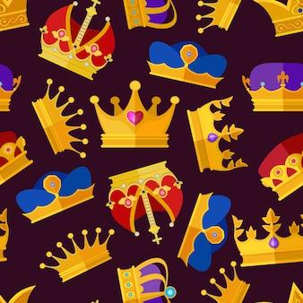 Kroon van koningin en koning, luxuryeamless patroon
