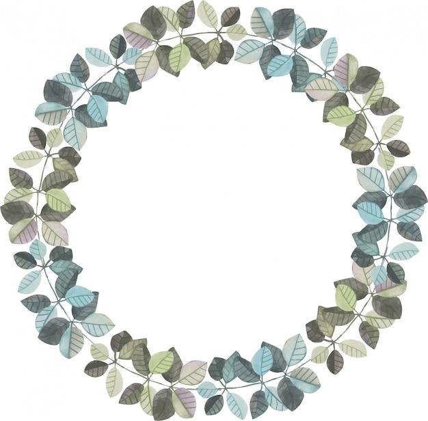 Kroon van waterverftakken met grijze en blauwe bladeren