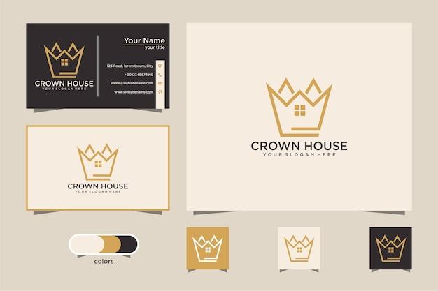 Kroonhuis met logo-ontwerp in lijnstijl en visitekaartje Premium Vector