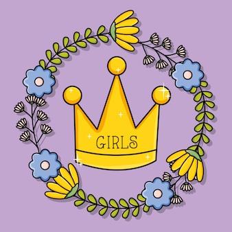 Kroonkoningin met bloemen krans pop-art stijl