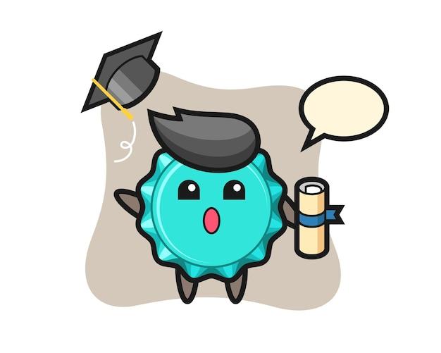 Kroonkurk cartoon de hoed gooien bij afstuderen