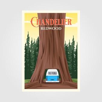 Kroonluchterboom met bus op de achtergrond van het sequoia nationale park
