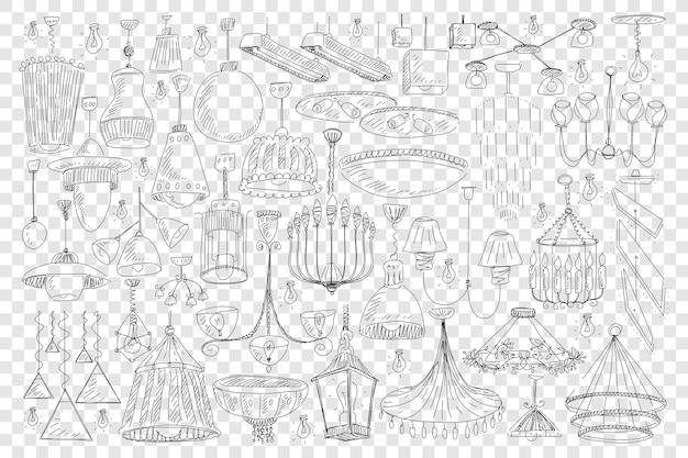 Kroonluchters voor huisdecoratie doodle set illustratie