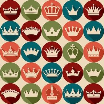 Kroont vintage set naadloze patroon