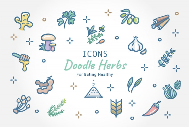 Kruiden doodle icon set