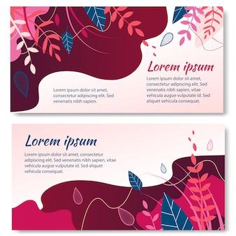 Kruiden en planten banner set voor natuurlijke producten.