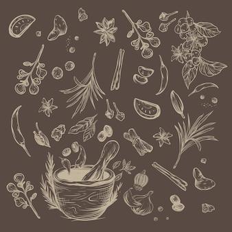 Kruiden en specerijen rustieke schets
