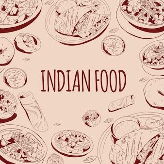 Kruiden indiaas eten hand getrokken doodle vectorillustratie