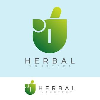 Kruiden initiaal letter i logo ontwerp