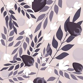 Kruidenbladeren en wilde bessen naadloos patroon