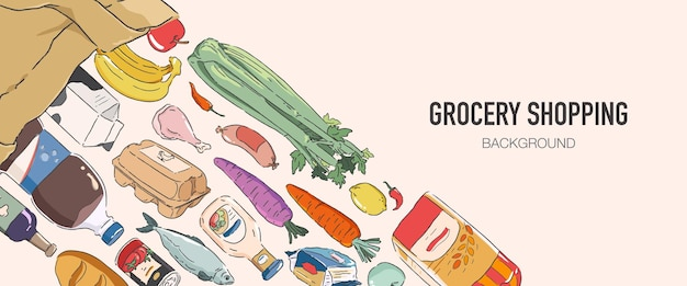 Kruidenier product achtergrond kruidenierswinkel concept illustratie