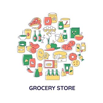Kruidenier producten abstracte kleur concept lay-out met kop. bewaar voedsel te koop. zuivelproducten. supermarkt creatief idee. geïsoleerde vector gevulde contourpictogrammen voor webachtergrond Premium Vector