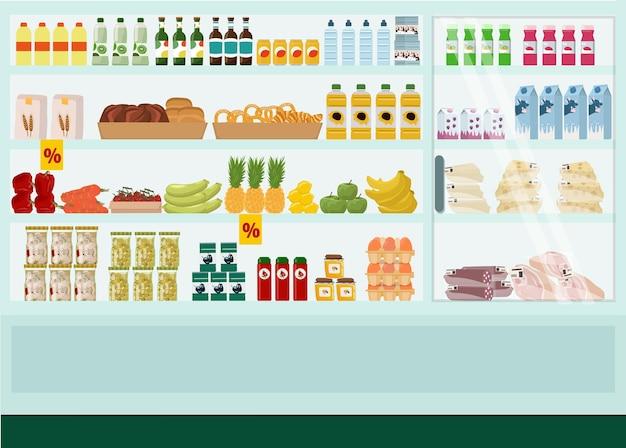 Kruidenier supermarktschappen met goederen, showcase, voedsel, groot assortiment, kortingen.