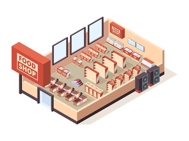 Kruidenier winkel interieur. supermarkt binnenmeubilair kassa tafels planken producten winkelwagentjes
