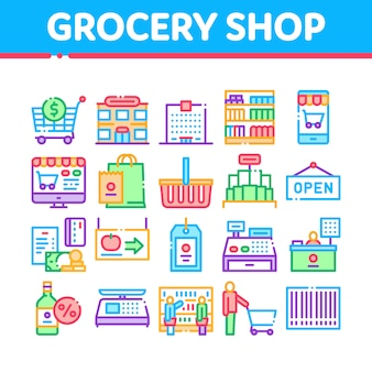 Kruidenier winkel winkelen collectie icons set