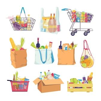 Kruidenierswinkelvoedsel in winkelmandje en kar
