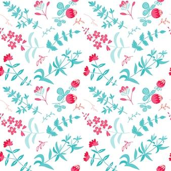 Kruidentheeplanten, bloemen, takken naadloos patroon