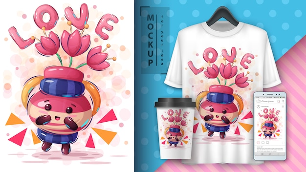 Kruik met bloemenposter en merchandising