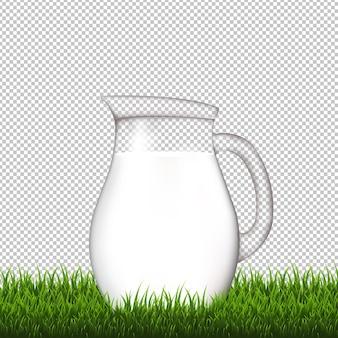 Kruik met grasrand transparante achtergrond