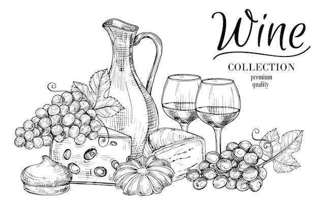 Kruik van wijn, kaas, snoep en glazen schets