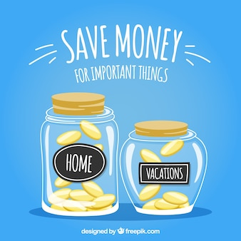 Kruiken achtergrond met sparen voor thuis en vakanties