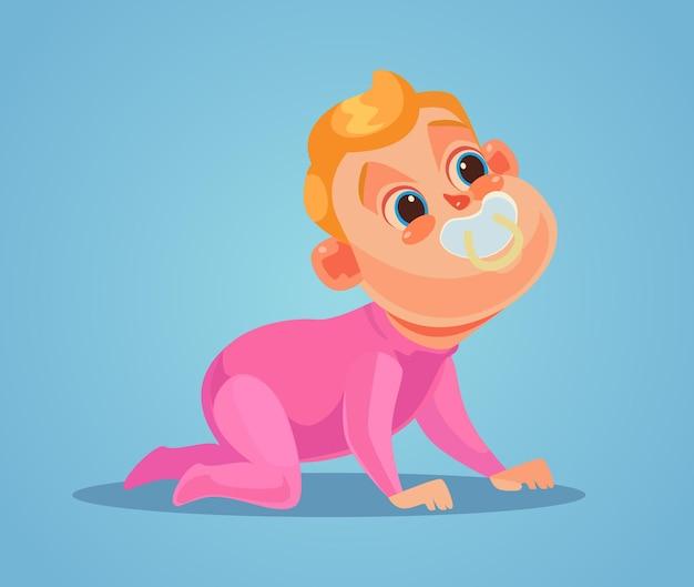 Kruipende baby kind karakter.