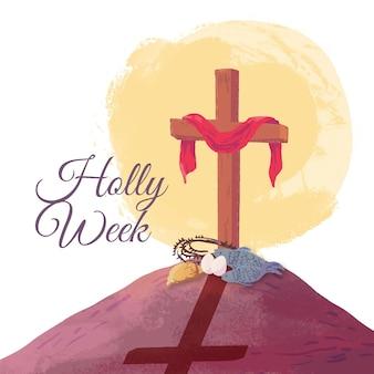 Kruis en schaduw van de waterverf het heilige week