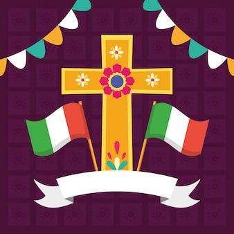 Kruis en vlaggen voor viva mexico