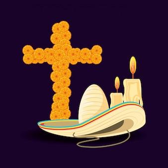 Kruis van dag de doden met hoed mexicaan