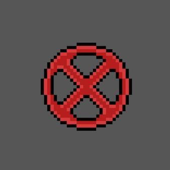 Kruis verboden bord met pixelkunststijl
