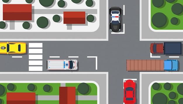Kruispunt bovenaanzicht illustratie gebouw kaart.