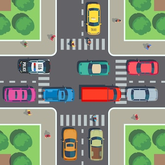 Kruispunt bovenaanzicht. wegkruising met zebrapad, auto's en mensen op stoep. vector illustratie