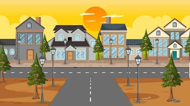 Kruispunt met veel huizen achtergrond