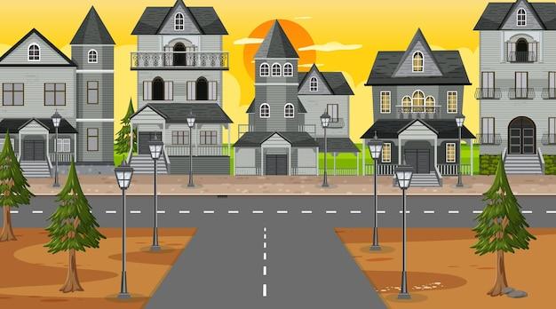 Kruispunt met veel koloniale huizen achtergrond