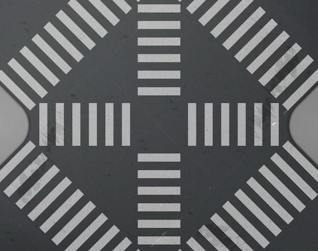 Kruispunt van de weg met zebrapad bovenaanzicht