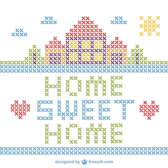 Kruissteek home sweet home vector
