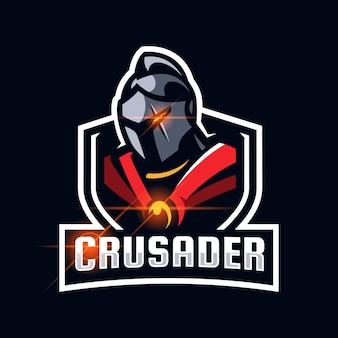 Kruisvaarder spartaanse romeinse helm esport logo ontwerpsjabloon