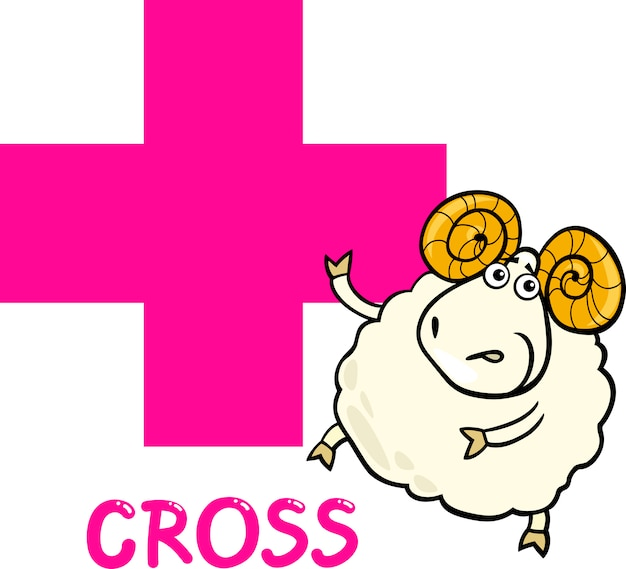 Kruisvorm met cartoon ram