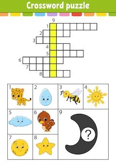 Kruiswoord puzzel. onderwijs ontwikkelt werkblad. activiteitenpagina voor engels studeren. met kleurenfoto's.